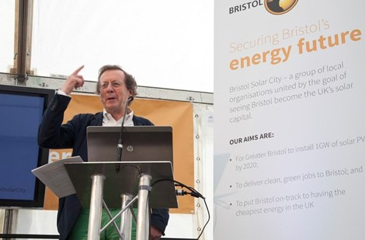 Mayor George Ferguson speaking at the launch of Bristol Solar City
