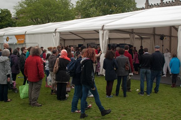 Visitors arrive at the launch of Bristol Solar City, organised by Focal Point