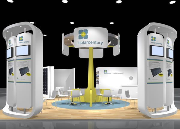Digital render of exhibition stand for Solarcentury