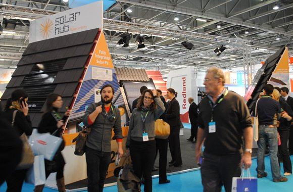 Ecobuild Solar Hub with visitors, designed and delivered by Focal Point