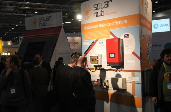 Visitors at the Ecobuild Solar Hub, designed and delivered by Focal Point