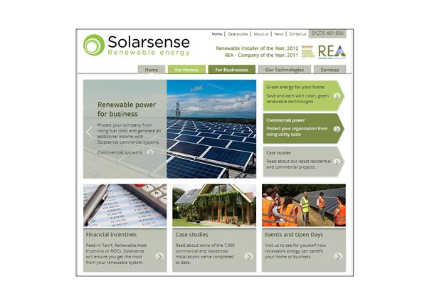 The Solarsense website, managed by Focal Point